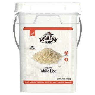 Augason Farms Long Grain White Rice Emergency Food Storage 28 Pound Pail