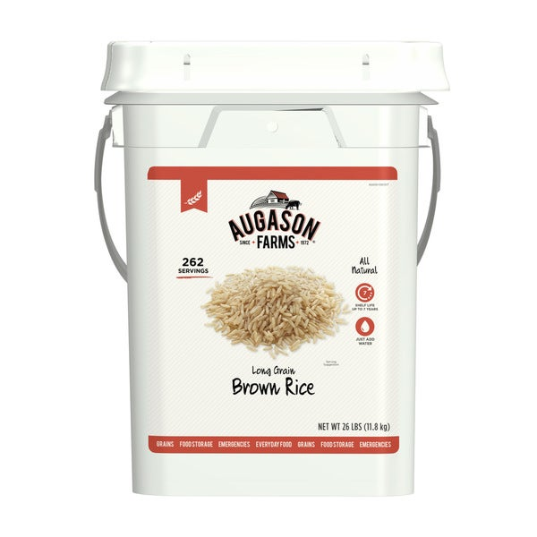 Augason Farms Long Grain Brown Rice Emergency Food Storage 26 Pound Pail