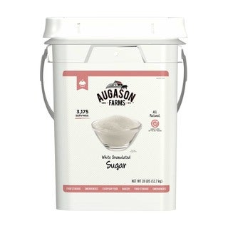 Augason Farms White Granulated Sugar 28 Pound Pail