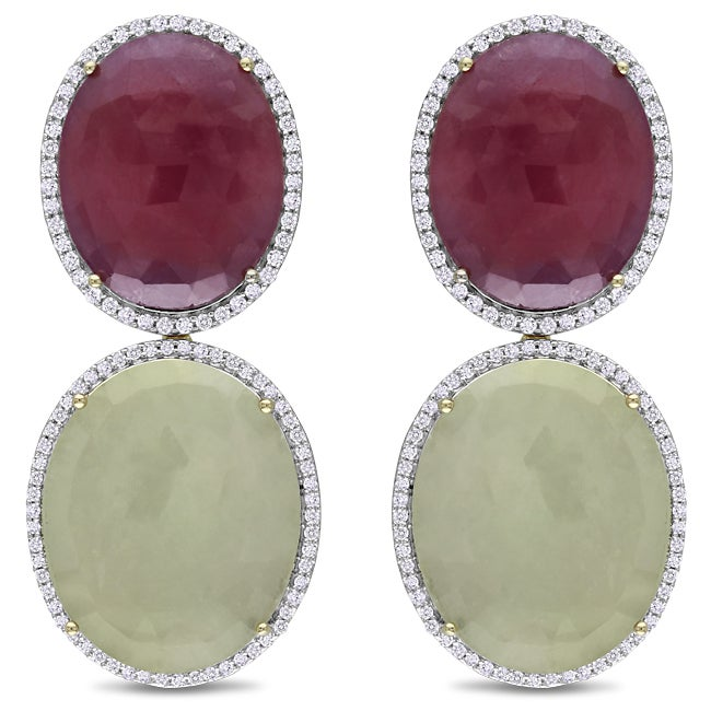 Miadora 14k Yellow Gold Sapphire and 1ct TDW Diamond Earrings (G-H, SI1-SI2)