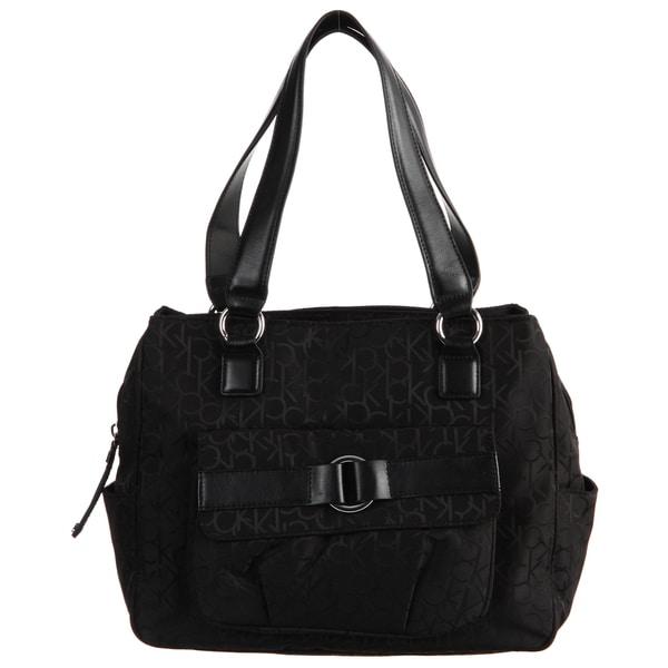 Calvin Klein Signature Logo Black Nylon Satchel Bag