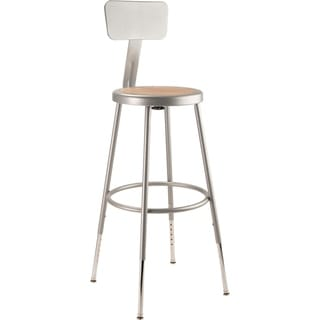 "NPS 25-33"" Height Adjustable Steel Stool With Backrest, Grey"