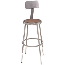 NPS Round Hardboard 18-gauge Stainless-steel-frame Stool with Backrest