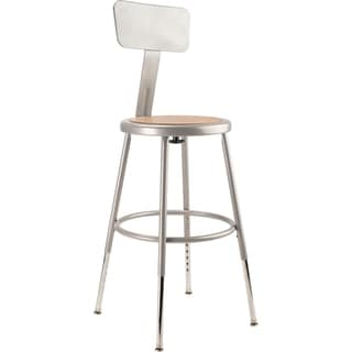"NPS 19 -27"" Height Adjustable Heavy Duty Steel Stool With Backrest, Grey"
