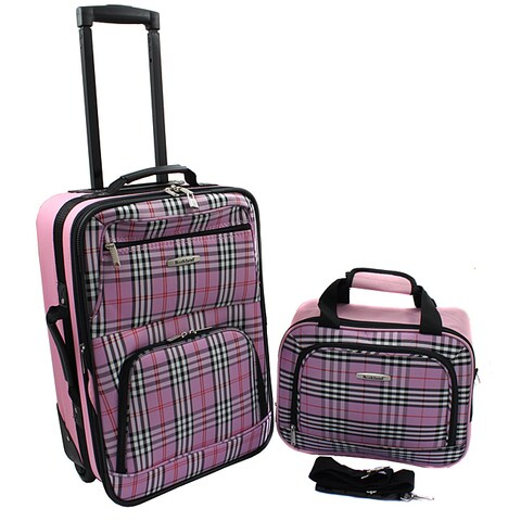 Rockland Pink Cross 2-piece Lightweight Carry-On Luggage Set