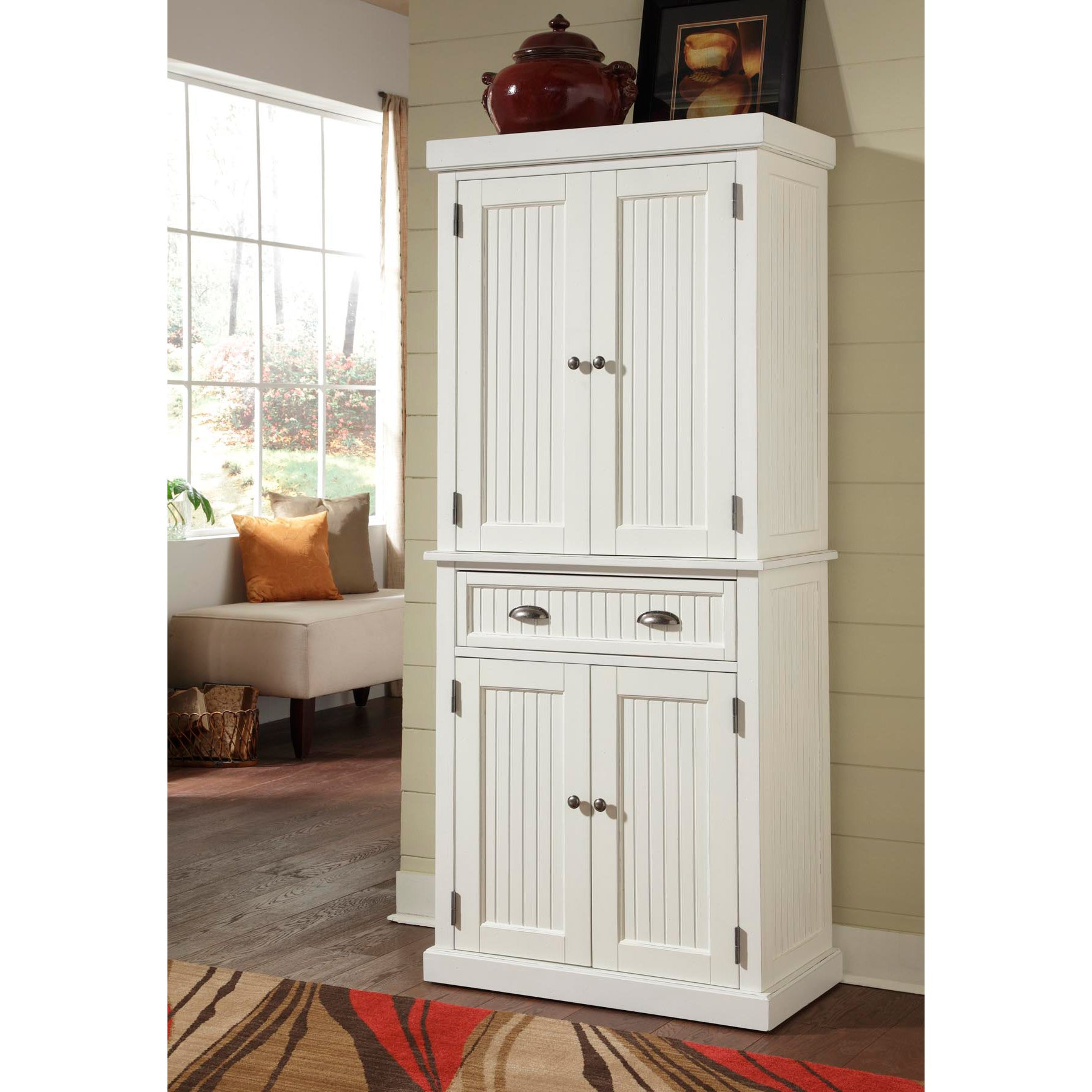 Nantucket White Distressed Finish Pantry by Home Styles - Free ...