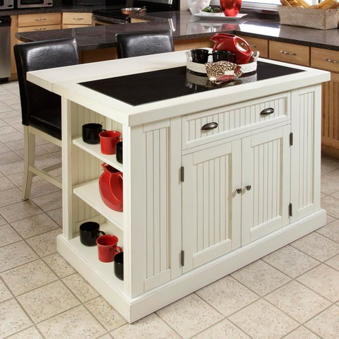 Gracewood Hollow Adrian Distressed White Board Kitchen Island with Drop-leaf Breakfast Bar