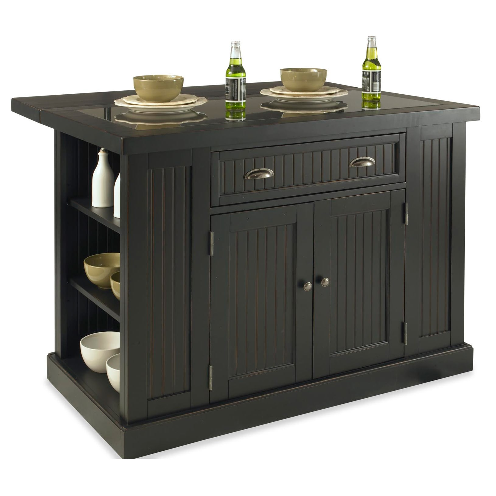 Shop Gracewood Hollow James Distressed Black Wood And Granite Inlay - Overstock kitchen island