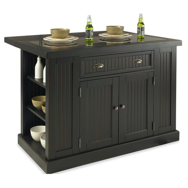 Nantucket Distressed Black Wood and Granite Inlay Kitchen Island