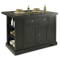Gracewood Hollow James Distressed Black Wood and Granite Inlay Kitchen Island