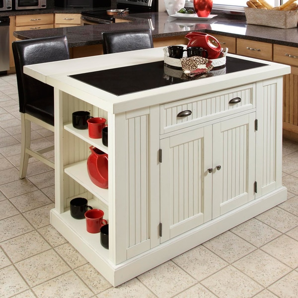 Home Styles Nantucket Distressed White Finish Kitchen Island with Two Bar Stools