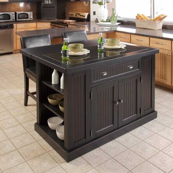 Nantucket Distressed Black Finish Kitchen Island with Two Bar Stools by Home Styles