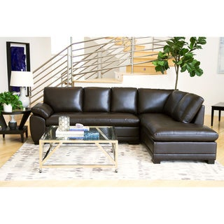 Abbyson Devonshire Brown Leather Tufted Sectional Sofa