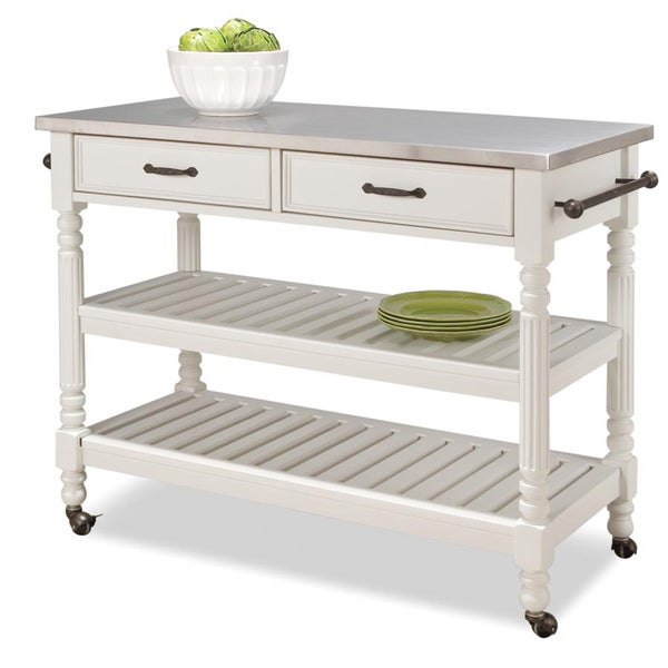 Home Styles Savannah White Kitchen Cart