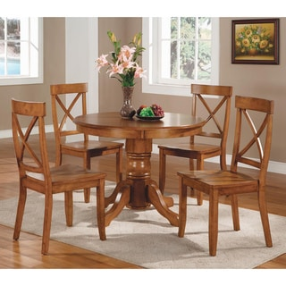 Bon Pine Canopy Mendocino Cottage Oak 5 Piece Dining Furniture Set