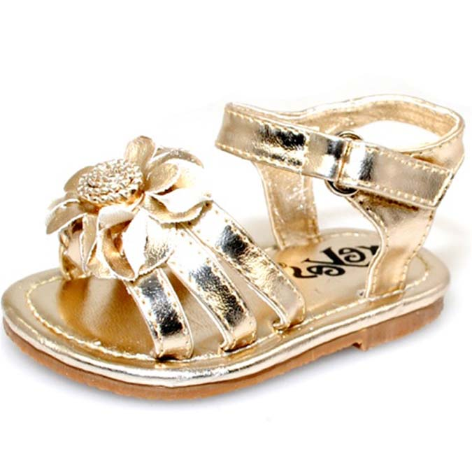 5d02a9d8b9b50 Shop Baby Girl Gold Flower Fashion Crib Sandals - Free Shipping On Orders  Over  45 - Overstock - 6626674