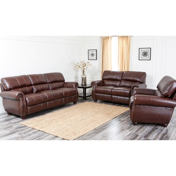 Abbyson Ashley Premium Top-grain Leather Sofa, Loveseat, and Armchair Set