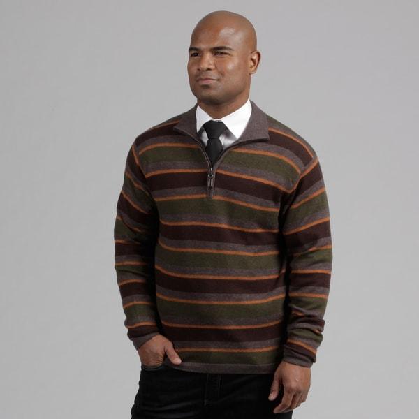 Weatherproof Men's Walnut Striped Wool/Cashmere Blend Sweater