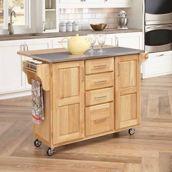 Home Styles Natural Breakfast Bar Kitchen Cart Free