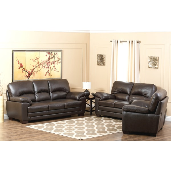 ABBYSON LIVING Charleston Premium Top-grain Leather Sofa, Loveseat and Armchair Set
