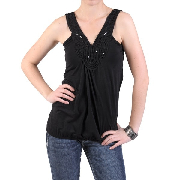Journee Collection Women's Sleeveless Embellished V-neck Top