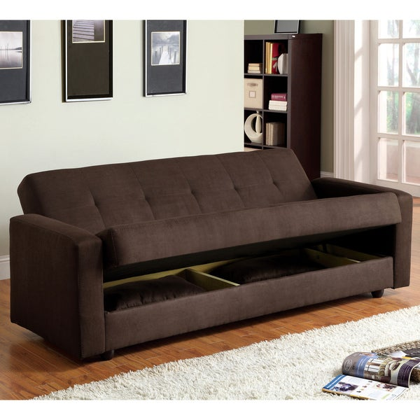 Furniture of America Cozy Microfiber Futon Sofa Bed with Storage