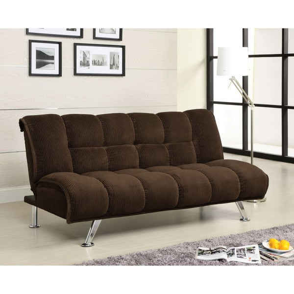 Furniture of America Maybeline Padded Corduroy Futon Sofabed