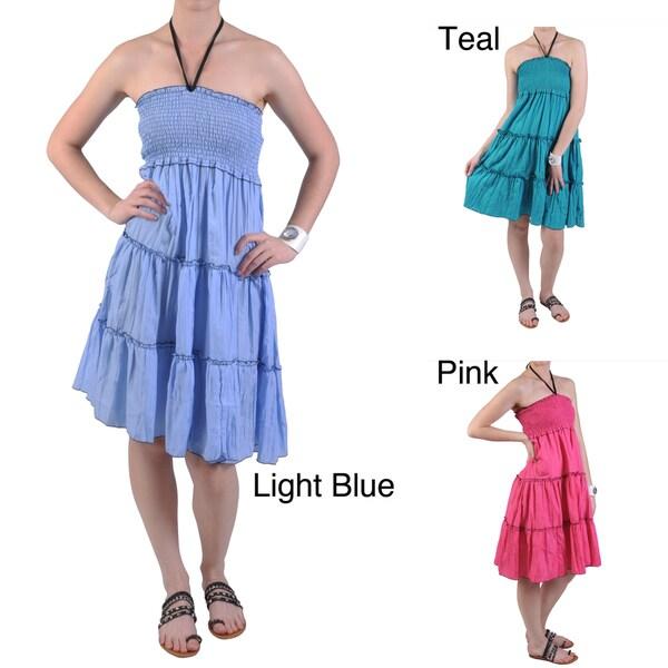 Journee Collection Women's Smocked Knee Length Crinkle Dress