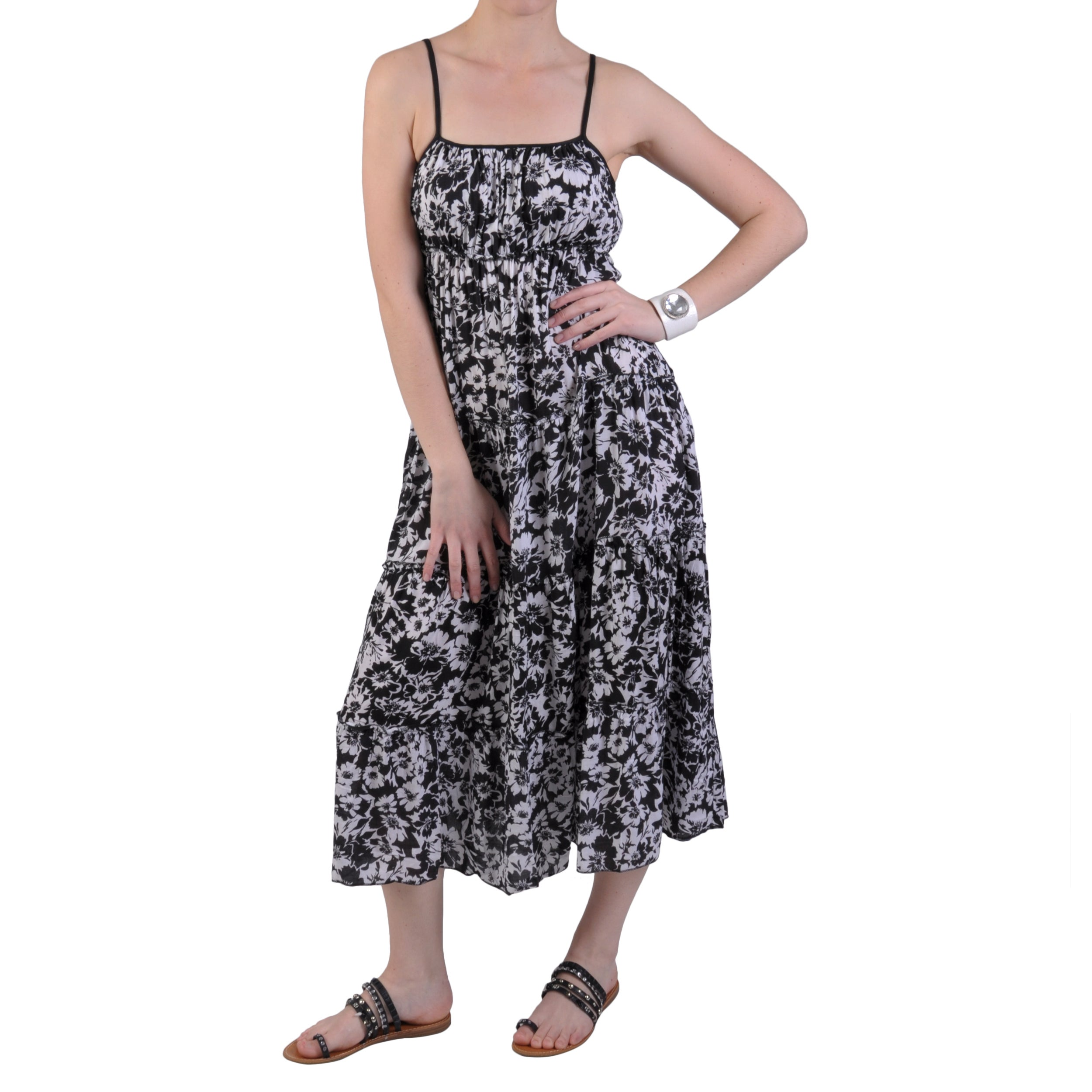 Journee Collection Women's Tiered Ankle Length Spaghetti Strap Dress