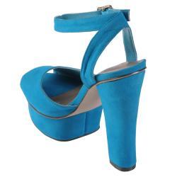 Hailey Jeans Co Women's 'Rain' Peep Toe Ankle Strap Platform Heels - Thumbnail 1