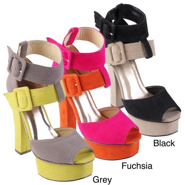 Hailey Jeans Co Women's 'Bulb' Multi-colored Peep Toe Platform Heel