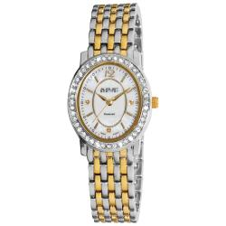 August Steiner Women's Dazzling Diamond Oval Two-Tone Bracelet Watch