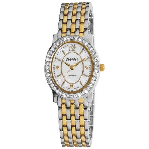 August Steiner Women's Dazzling Diamond Oval Two-Tone Bracelet Watch