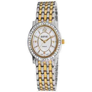 August Steiner Women's Dazzling Diamond Oval Two-Tone Bracelet Watch with FREE Bangle