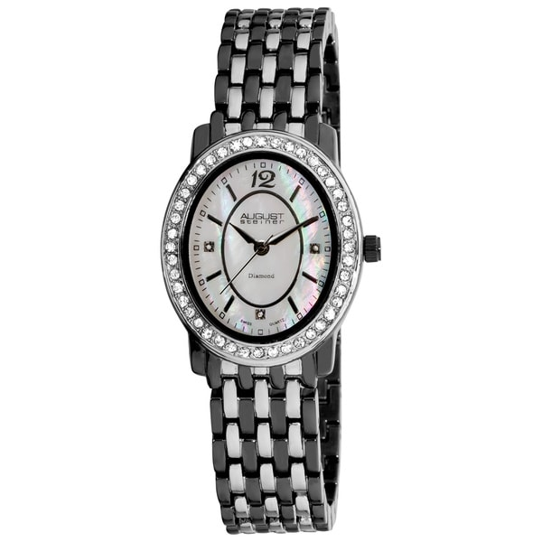 Black-and-Silver August Steiner Women's Dazzling Diamond Oval Two-Tone Bracelet Watch