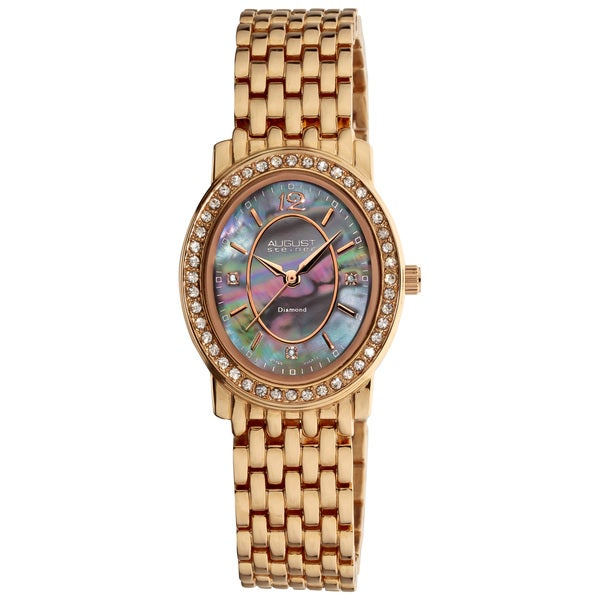 Rosetone August Steiner Women's Dazzling Diamond Oval Bracelet Watch