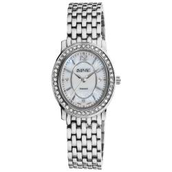 August Steiner Women's Dazzling Diamond Silver Oval Bracelet Watch