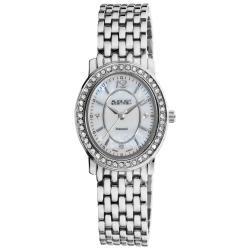 August Steiner Women's Dazzling Diamond Silver Oval Bracelet Watch with FREE GIFT