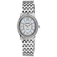 August Steiner Women's Dazzling Diamond Silver Oval Bracelet Watch with FREE Bangle