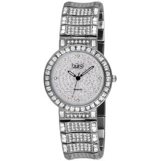 Burgi Women's Stainless Steel Diamond Baguette Quartz Silver-Tone Watch