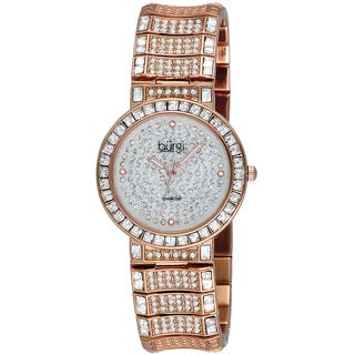 Burgi Women's Diamond Baguette Quartz Rose-Tone Watch