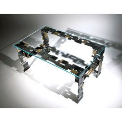Modern Fashion Handcrafted Stainless Steel Glass-top Coffee Table