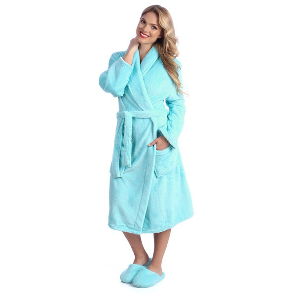 Ultrasoft Plush Bathrobe And Slipper Set Free Shipping