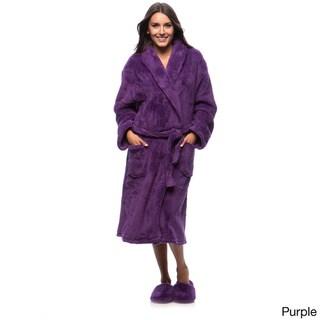 Ultrasoft Plush Bathrobe and Slipper Set