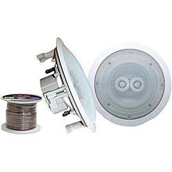"Pyle Pair of 6.5"" In-Ceiling Speakers with 100' Wire"
