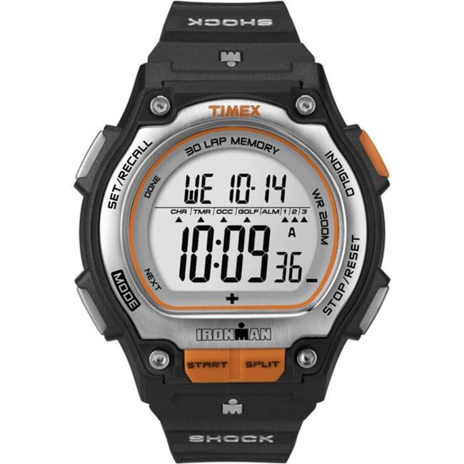 Timex Men's T5K582 Ironman Traditional Shock 30-Lap Black/Silvertone/Orange Watch