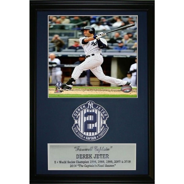 Derek Jeter 3,000 Hits Commemorative Patch with Black Wood Frame