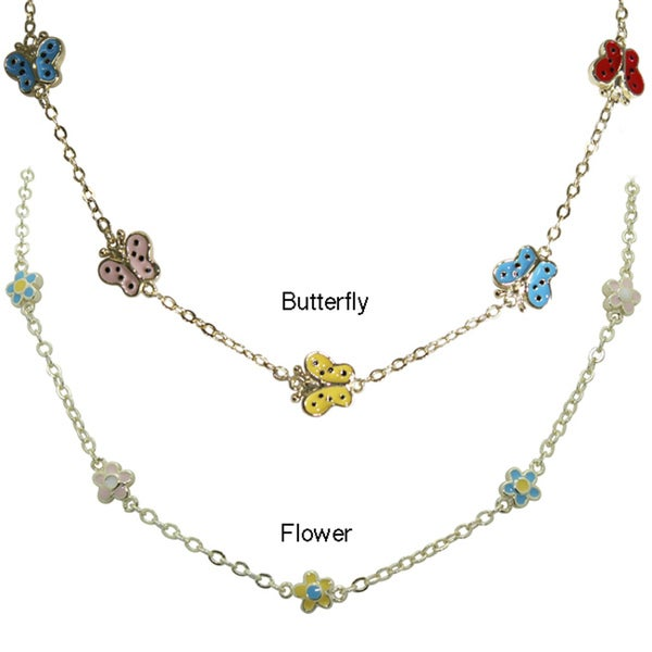Gioelli Children's 18k Gold Over Brass Enamel Flower Necklace
