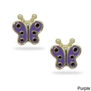 Junior Jewels 18k Gold Overlay Children's Colored Enamel Butterfly Stud Earrings