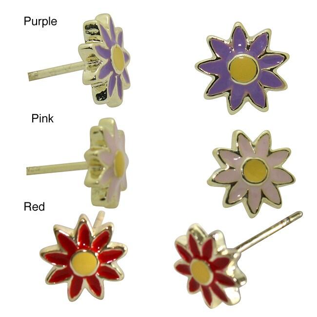 Gioelli 18k Gold Overlay Children's Colored Enamel Flower Stud Earrings